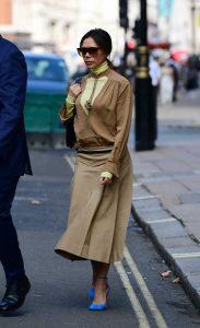 Victoria Beckham in a Beige Skirt
