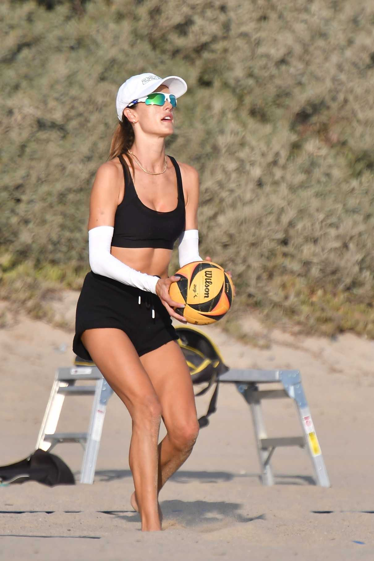 Alessandra Ambrosio in a Black Sports Bra