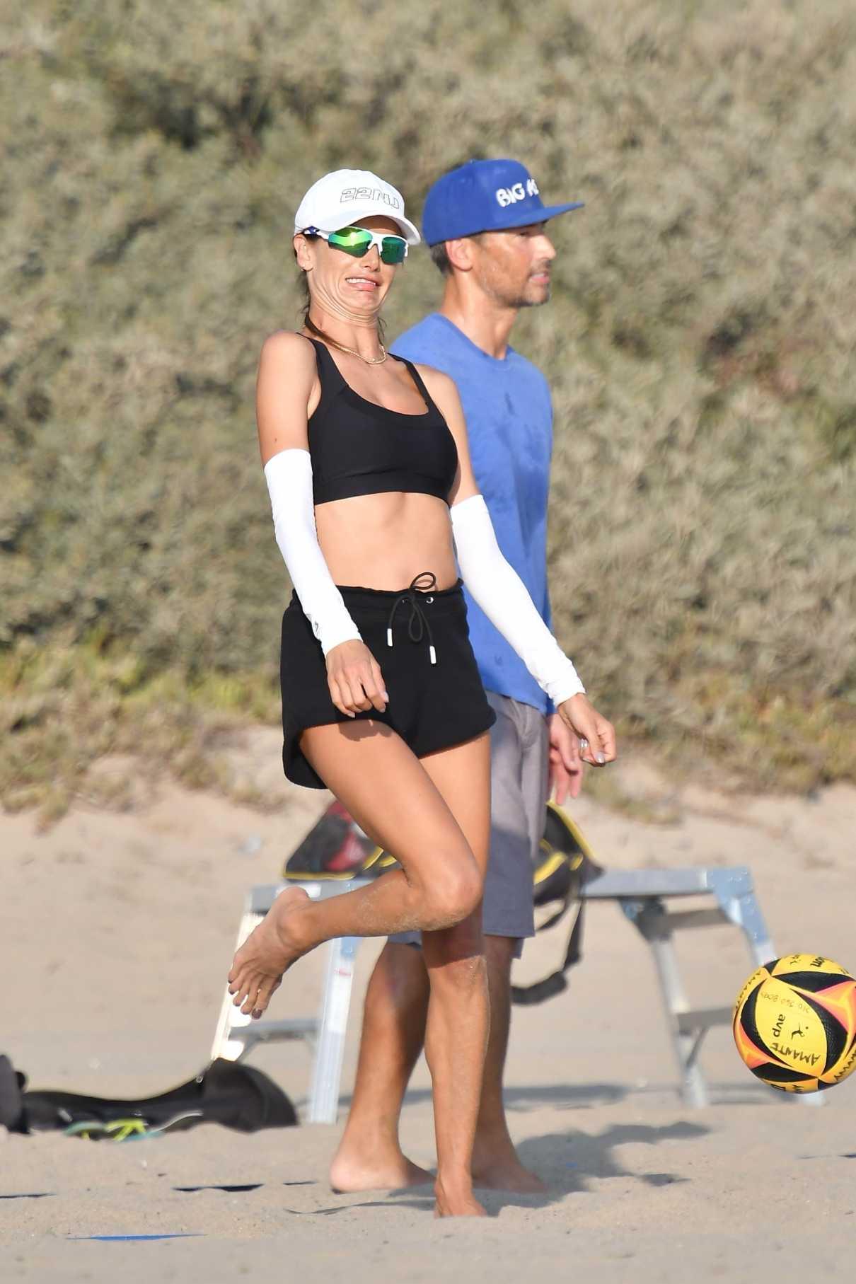 Alessandra Ambrosio in a Black Sports Bra