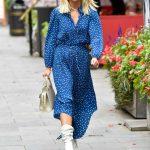 Ashley Roberts in a Blue Polka Dot Dress Leaves the Global Studios in London 10/16/2020