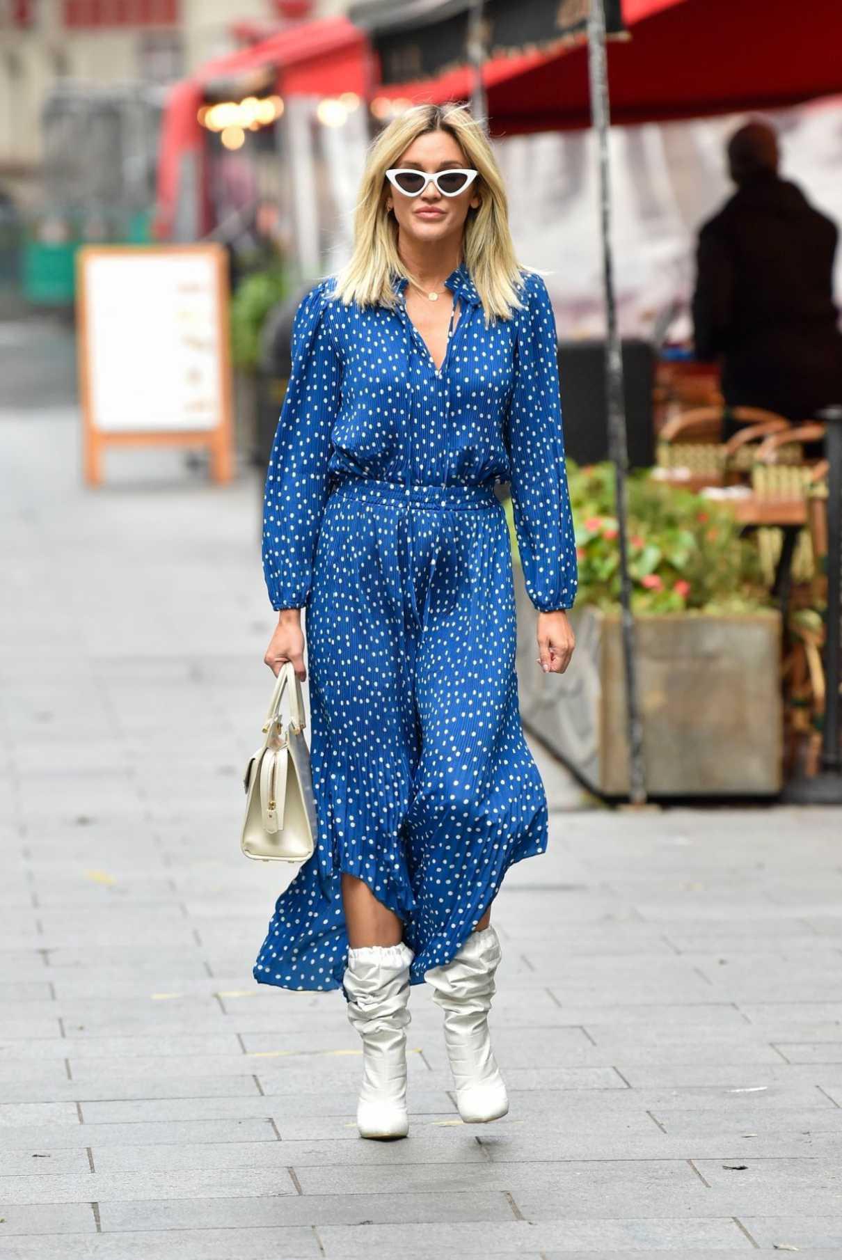 Ashley Roberts in a Blue Polka Dot Dress