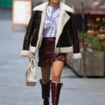 Ashley Roberts in a Brown Mini Skirt Leaves the Heart Radio in London 10/26/2020