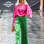 Ashley Roberts in a Pink Blouse Leaves the Global Studios in London 10/05/2020
