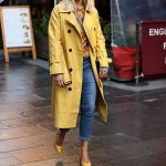 Ashley Roberts in a Yellow Trench Coat Arrives at the Heart Radio in London 10/14/2020