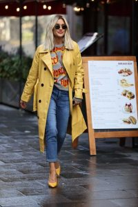 Ashley Roberts in a Yellow Trench Coat