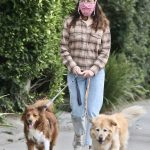 Aubrey Plaza in a Plaid Shirt Walks Her Dogs in Los Angeles 10/24/2020