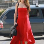 Chrishell Stause in a Red Dress Heads to the DWTS Studio in Los Angeles 10/03/2020