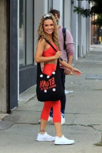 Chrishell Stause in a Red Workout Ensemble