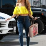 Chrishell Stause in a Yellow Top Heads to the DWTS Studio in Los Angeles 10/27/2020