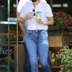 Cobie Smulders in a White Tee Was Seen Out with Her Husband Taran Killam in Los Angeles 10/14/2020