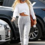 Daniella Karagach in a White Cropped Sweatshirt Arrives at the DWTS Studio in Los Angeles 10/21/2020