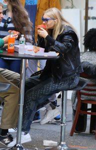 Elsa Hosk in a Black Leather Jacket