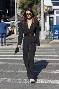 Emily Ratajkowski in a Black Suit