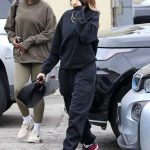 Hailey Bieber in a Black Sweatsuit Arrives at a Spa in Los Angeles 10/23/2020