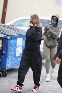 Hailey Bieber in a Black Sweatsuit