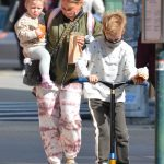 Hilary Duff in an Olive Bomber Jacket Was Seen Out with Her Kids in New York 10/18/2020