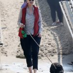 Jane Lynch in a Polka Dot Shirt Walks Her Dog on the Beach in Los Angeles 10/04/2020