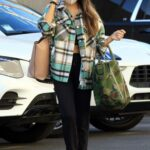 Jenna Johnson in a Plaid Shirt Arrives at the DWTS Studio in Los Angeles 10/29/2020