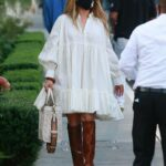 Jennifer Lopez in a White Dress Was Seen at San Vicente Bungalows Out with Alex Rodriguez in West Hollywood 10/30/2020