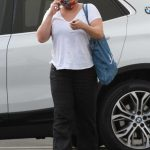 Justina Machado in a White Tee Arrives at the DWTS Studio in Los Angeles 10/24/2020