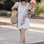 Kate Mara in a White Mini Dress Was Seen Out with Her Daughter in Glendale 10/15/2020