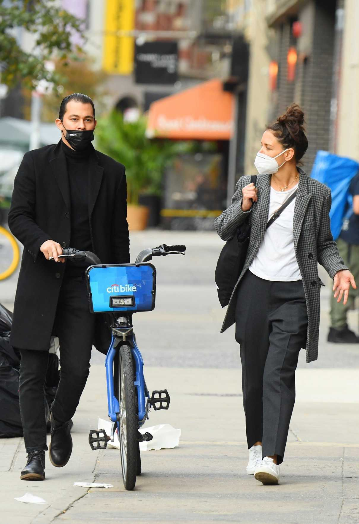 Katie Holmes in a Protective Mask