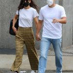 Katie Holmes in a White Tee Rides the Subway Train Out with Emilio Vitolo Jr. in Manhattan 10/01/2020