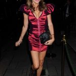 Lizzie Cundy in a Red Dress Arrives at Annabel's in Mayfair, London 10/01/2020