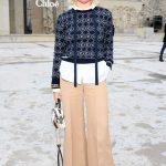 Maisie Williams in a Beige Pants Attends the Chloe Fashion Show During Paris Fashion Week in Paris 10/01/2020