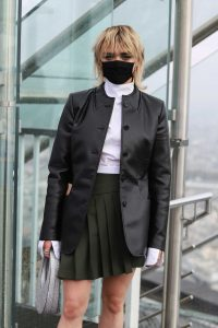 Maisie Williams in a Black Protective Mask