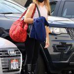 Monica Aldama in a Black Leggings Arrives at the DWTS Studio in Los Angeles 10/21/2020