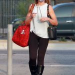 Monica Aldama in a Black Leggings Arrives for Practice at the DWTS Studio in Los Angeles 10/09/2020