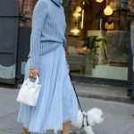 Olivia Palermo in a Light Blue Skirt Was Seen Out in New York 10/24/2020