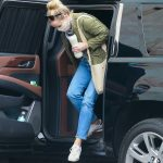 Reese Witherspoon in an Olive Jacket Arrives at a Studio in Los Angeles 10/23/2020