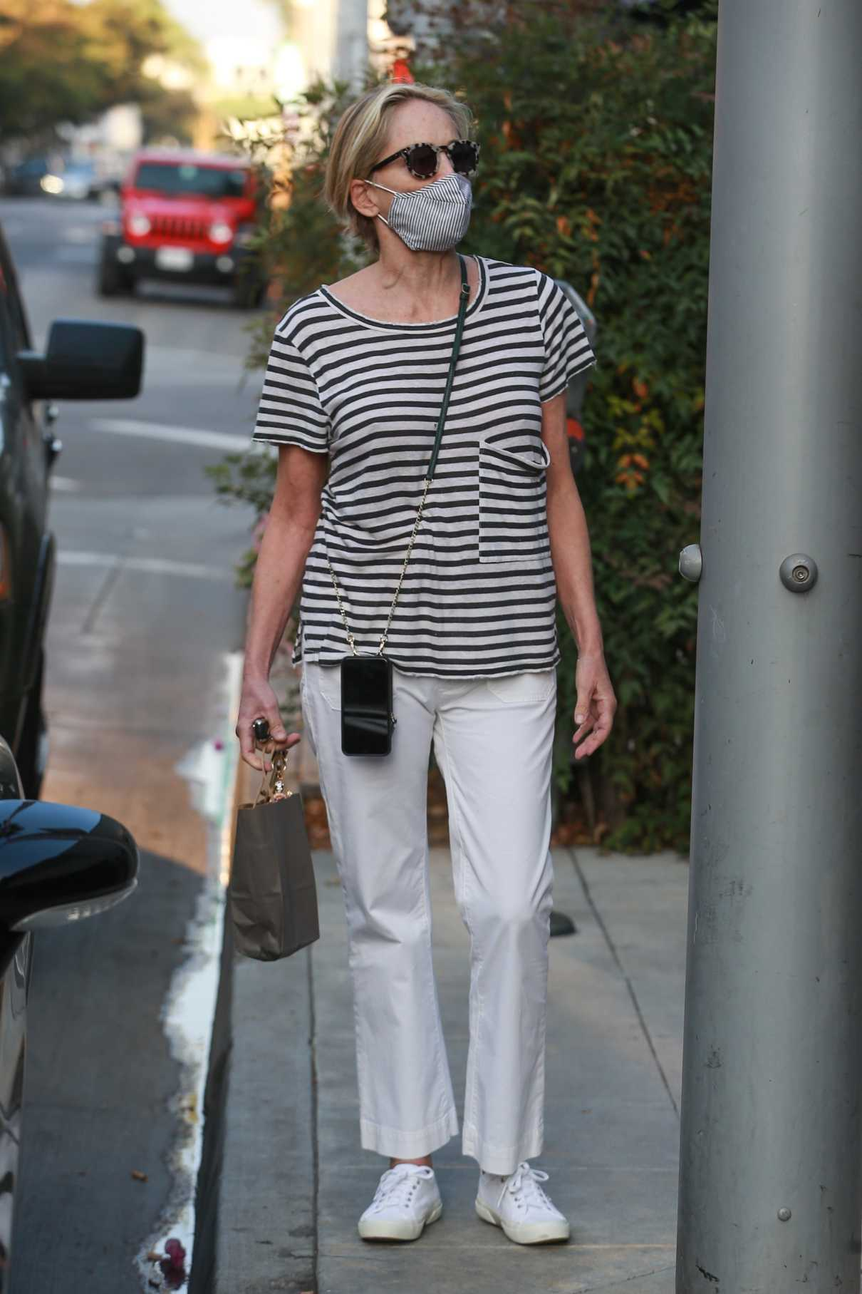Sharon Stone in a Striped Tee