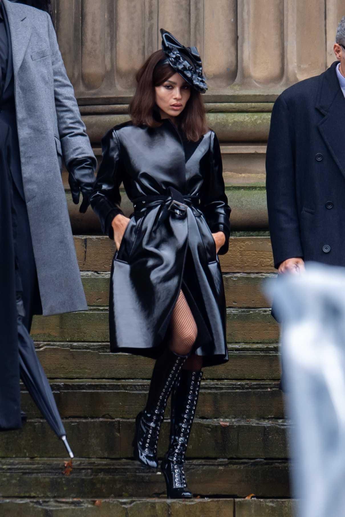 Zoe Kravitz in a Black Trench Coat