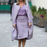 Amanda Holden in a Purple Outfit Leaves the Global Studios in London 11/25/2020