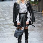 Ashley Roberts in a Black Mini Skirt Arrives at the Heart Radio Studios in London 11/03/2020