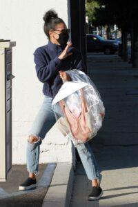 Britt Stewart in a Blue Ripped Jeans