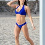 Casey Batchelor in a Blue Bikini Filming for Her Fitness App Yoga Blitz in Tenerife 11/06/2020