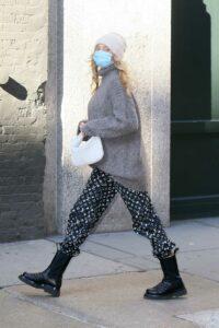 Elsa Hosk in a Grey Sweater