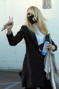 Emma Slater in a Black Protective Mask