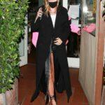 Hailey Bieber in a Black Coat Enjoys a Dinner Date with Justin Bieber at Giorgio Baldi in Santa Monica 11/13/2020