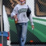 Hailey Bieber in a Grey Sweatshirt Was Spotted on Set in Los Angeles 11/01/2020