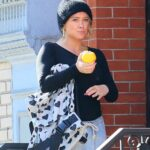 Hilary Duff in a Black Knit Hat Enjoys a Stroll in New York 11/07/2020