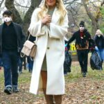 Hilary Duff in a White Coat on the Set of Younger in New York 11/16/2020