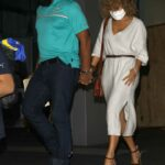 Jennifer Lopez in a Beige Knit Dress Leaves Dinner Date with Alex Rodriguez at Soho House in Beverly Hills 11/01/2020