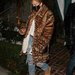 Jennifer Lopez in an Animal Print Fur Coat Leaves Dinner at San Vicente Bungalows in West Hollywood 11/21/2020