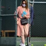 Jessica Alba in a White Sneakers Leaves a Tennis Lesson in Los Angeles 11/08/2020