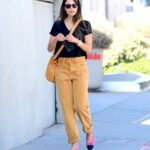 Jordana Brewster in a Yellow Pants Heads to the Hair Salon in Brentwood 11/21/2020